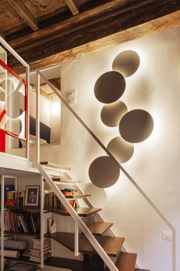Puck Wall Art wall lamp designed by Jordi Vilardell at an apartment In Via Santa Marta, Milan, Italy, by Ortelli Architteti. http://www.vibia.com/en/puck-wall-art-wall-lights/?utm_source=social&utm_medium=pinterest&utm_campaign=puck_wall_appartment_in_Milan_prj&utm_content=pint_out utm_term=