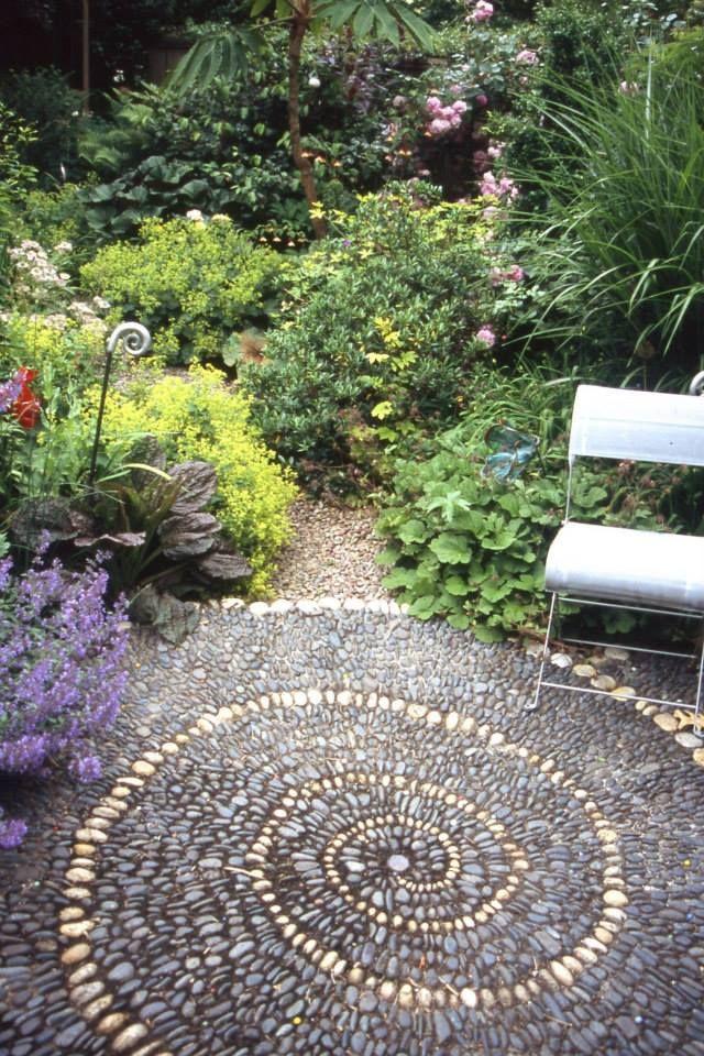 Pebble Mosaic Spiral Patio
