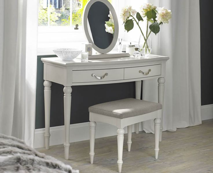 Montreux Soft Grey Dressing Table is finished in a soft grey paint, available with a vanity mirror and a stool. UK delivery.
