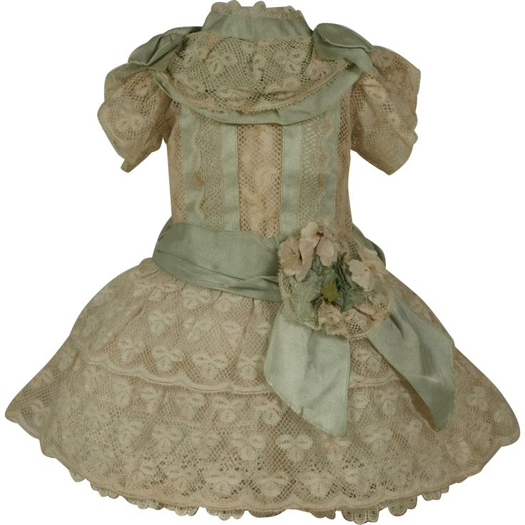 Wonderful Antique French Hand Made Valenciennes Lace Bebe Dress for JUMEAU, BRU, STEINER other FRENCH BEBE