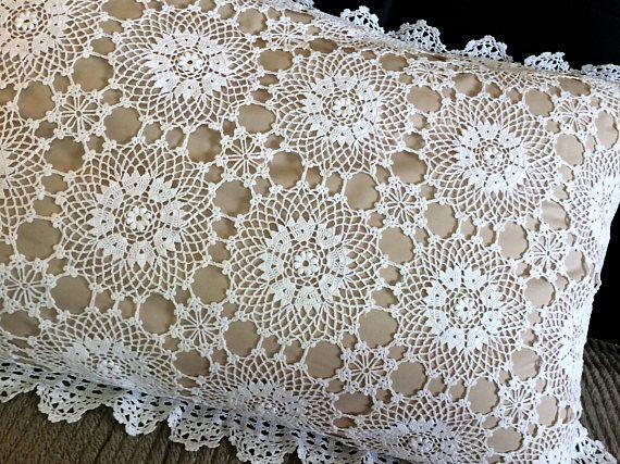 Crochet Pillowcase. White Crochet Lace and Linen Standard Size