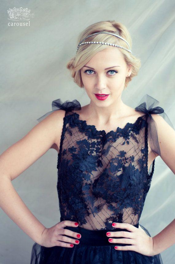 Black lace evening dress open back dress by CarouselFashion
