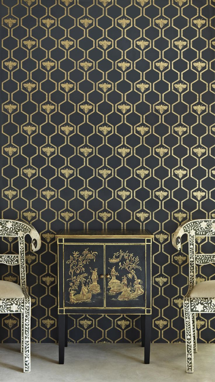 Honey Bees wallpaper (gold on charcoal) by Barneby Gates  @Emily Barnard, I feel you would also appreciate this.  :)