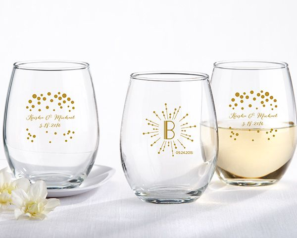 9 Oz. Stemless Wine Glass Milestone Gold By Kate Aspen