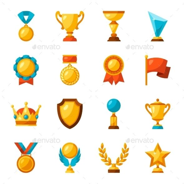 Sport Or Business Trophy Award Icons Set Vector EPS. Download here…