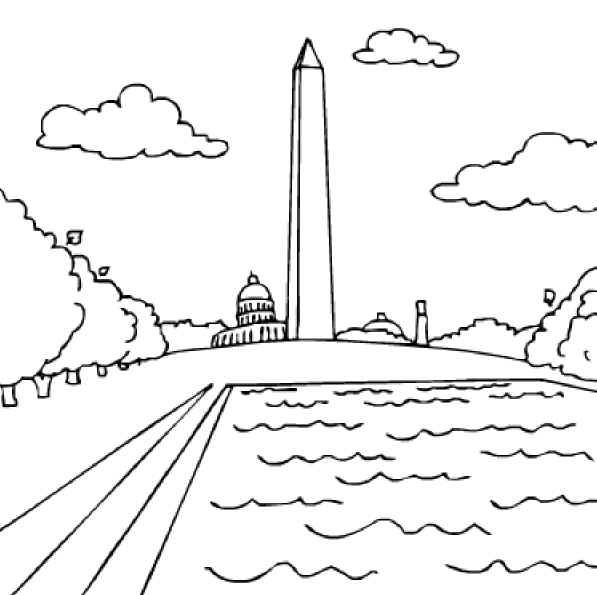 Washington Coloring Pages Monument Page Etc American Symbols George