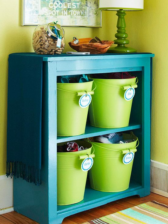 Hallway organization - a bucket per person, neatly labeled.... : The Doors, Buckets, Old Dressers, Color, Organizations, Shoes Storage, Storage Ideas, Toys Storage, Kids Rooms