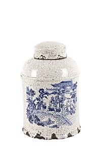 CERAMIC CRACKLE TERRACOTTA DELFT GINGER JAR