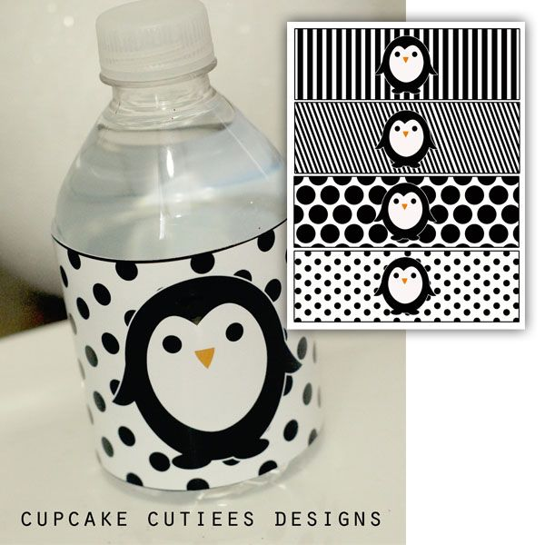 Penguin Party Water bottle Labels