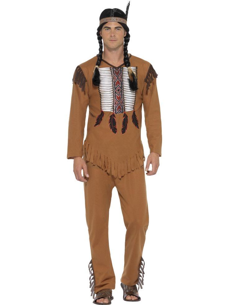 Intiaanisoturi. Tässä hyvännäköisessä intiaanisoturin naamiaisasussa voi juhlia teemabileissä tai lepuuttaa hermojaan nuotion ääressä, tiipiin varjossa.