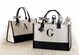 Mud Pie Canvas Monogram Tote Bag Initial K