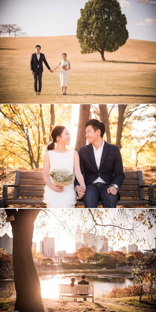 Fall wedding photo shoot at the park // Korea, Olympic Park
