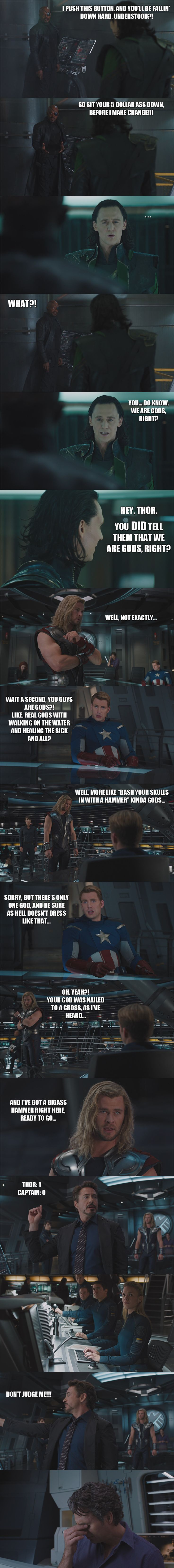 Thor: 1  Captain: 0  The Avengers - Gods: I by yourparodies.deviantart.com