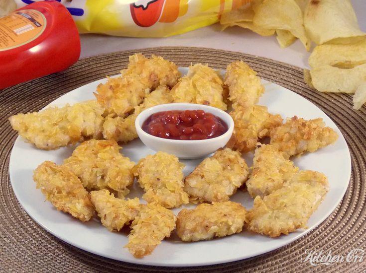 Pollo impanato nelle patatine