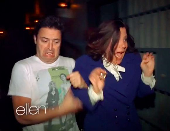 The No-Neck Reaction: | Ellen Terrifies Two Staffers At A Haunted House And Their Reactions Are Priceless