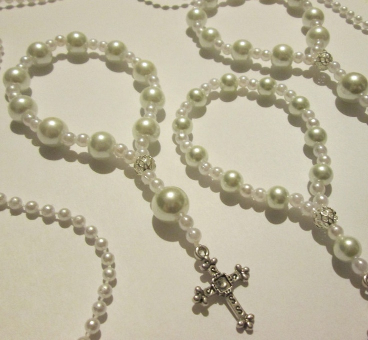 A DOZEN Beautiful glass pearl Rosary bracelets. Perfect for first communions, and wedding favors..