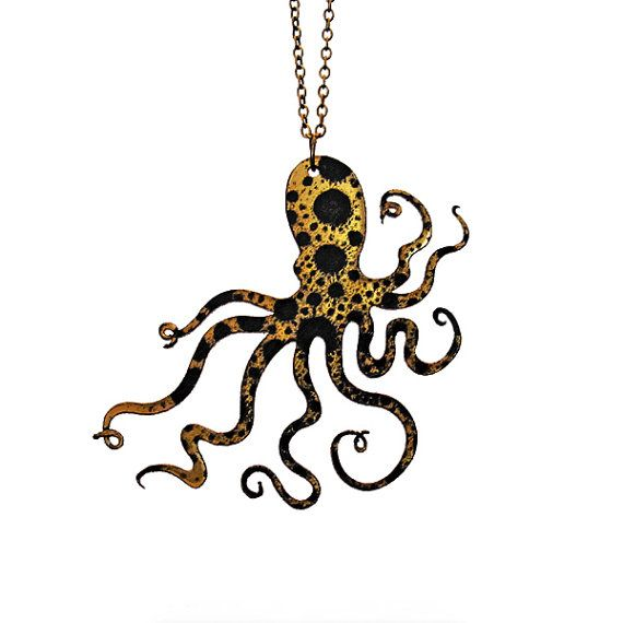 An Octopus Love Affair Necklace  Small 2.5 Gold Ink by CABfayre