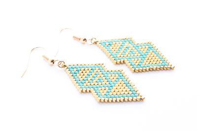 Création Artistic Bracelet - Boucles d'oreille DELTA Turquoise et Or