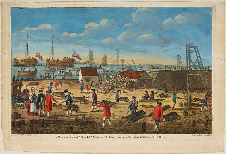 View near Woolwich in Kent shewing [sic] the employment of the convicts from the hulks, c. 1800 / printed for Bowles & Carver. Hand-coloured copper print engraving. From the collections of the State Library of New South Wales: http://acmssearch.sl.nsw.gov.au/search/itemDetailPaged.cgi?itemID=456022