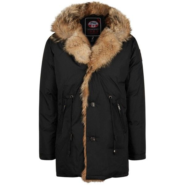 Pajar Nicolai black fur-trimmed padded parka ($810) ❤ liked on Polyvore featuring men's fashion, men's clothing, men's outerwear, men's coats and mens parka coats