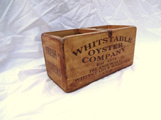 Vintage antiqued wooden box, crate, trug, WHITSTABLE FISH OYSTERS | eBay
