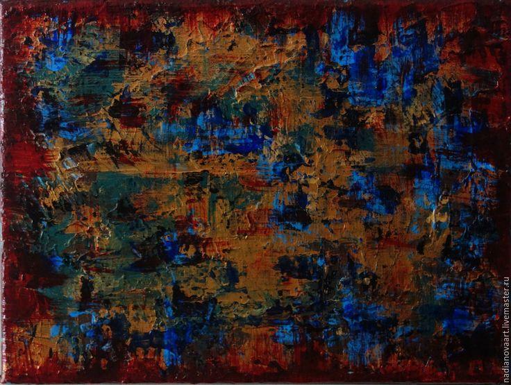 """Купить """"6 февраля 2017""""- небольшая абстракция акрилом 18/24 см - комбинированный, абстрактная картина"""