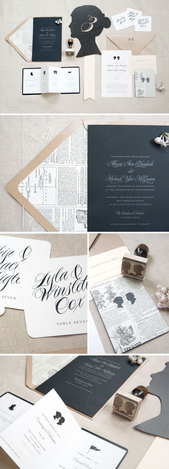 Vintage Parisian-meets-glam wedding suite with silhouettes || Lilly & Louise