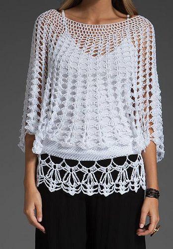 Blusa crochet mangas mariposa
