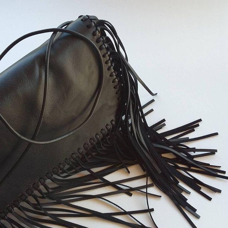 "lookaticons: ""Handmade bag by L_L.♡ #handmade#handmadeingreece#bag#clutch#leather#origami#black#fringes """