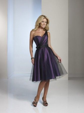 Purple & Black Bridesmaid Dress Share BY11234T A gorgeous one shoulder bridesmaid dress in purple with a black overlay.  Submitted by : Black Tie Affair in Nashville, Illinois.  (Pinned by Marys Flowers Via Floral Network)