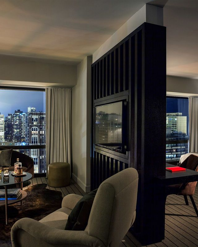 Thompson Chicago, a Thompson Hotel Chicago, Illinois Bedroom Hip Luxury Modern Suite indoor floor room window Living ceiling sofa living room property condominium house home furniture interior design real estate Design dining room apartment hotel Villa area