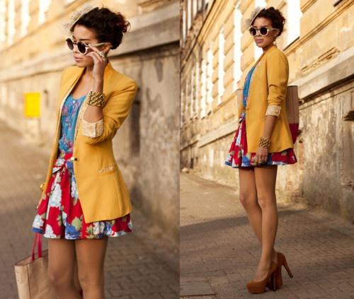 yellow jacket, flower skirt