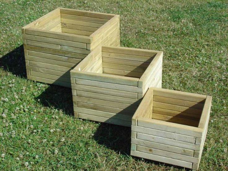 Jardineras de madera cuadradas de 40 / 50 / 60 cm