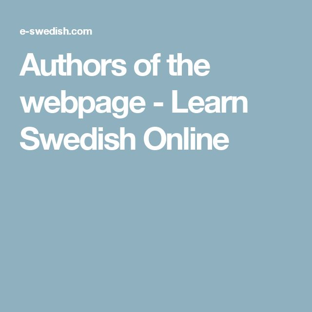 Authors of the webpage - Learn Swedish Online