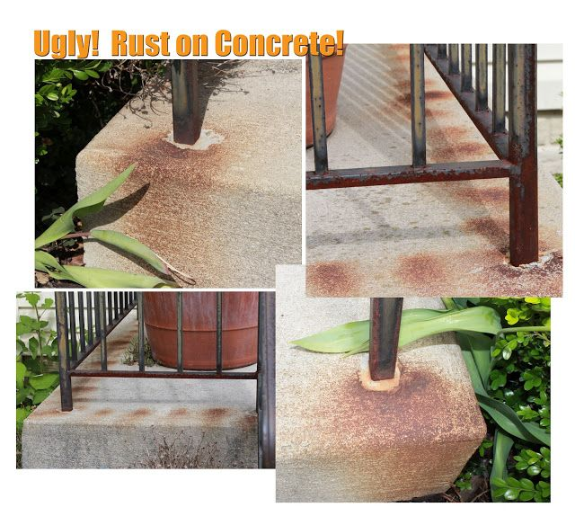 Get rid of rust on concrete remove rust rust and concrete for Bleach on concrete floor