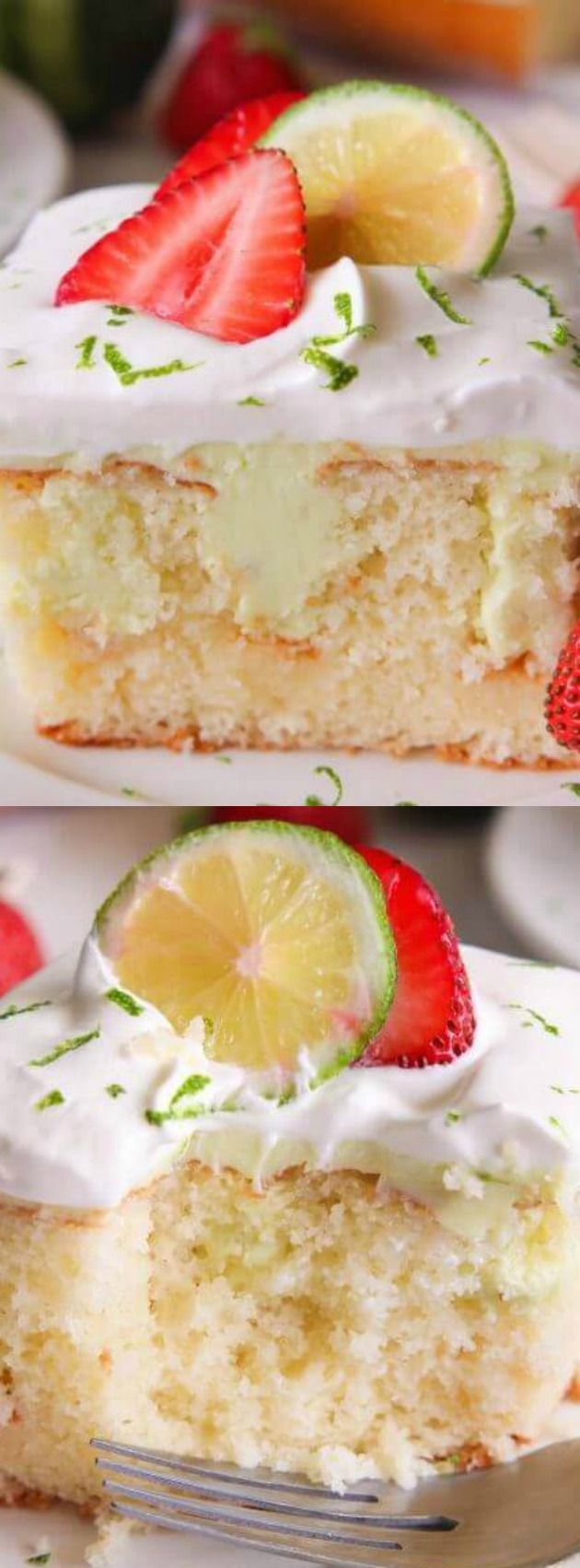 This Key Lime Poke Cake is a delicious white cake that has a sweet and tart mixture on top and then finished with fresh whipping cream and strawberries!!