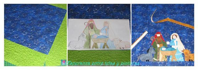 Esperanza entre telas y pinturas: Cojín con Pesebre y Estuche de Grannys