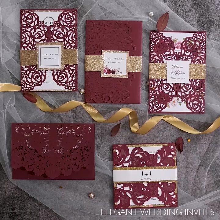 Burgundy Wedding Invitations for Fall and Winter Weddings