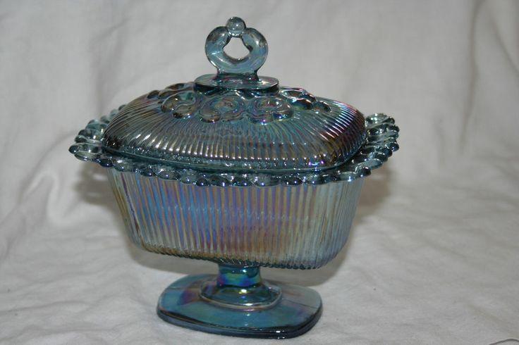 S Pressed Glass Lidded Bon Bon Bowls