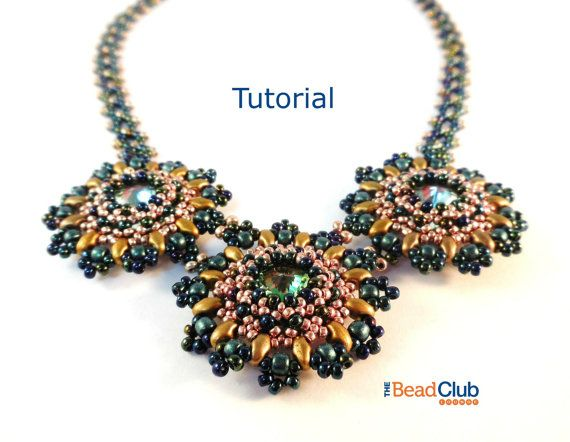 Beaded Necklace Patterns - Right Angle Weave - Rivoli Necklace - Beading…