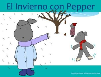 Pepper introduces Spanish vocabulary with complete sentences for winter.  This…
