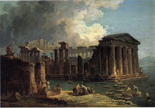 Temple au milieu de l'eau - Hubert  Robert - 1800 - Moscou, Musée Pouchkine