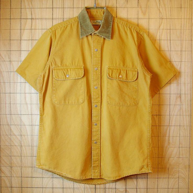 【L.L.Bean】エルエルビーンUSA製古着FREEPORT,MAINEコットン100%リメイクカットオフアウトドア半袖シャツ|メンズMサイズ