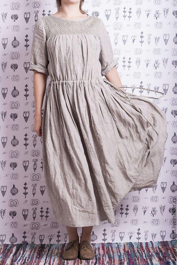 Купить Светло-серое платье бохо в клетку с колокольчиками в интернет магазине на Ярмарке Мастеров