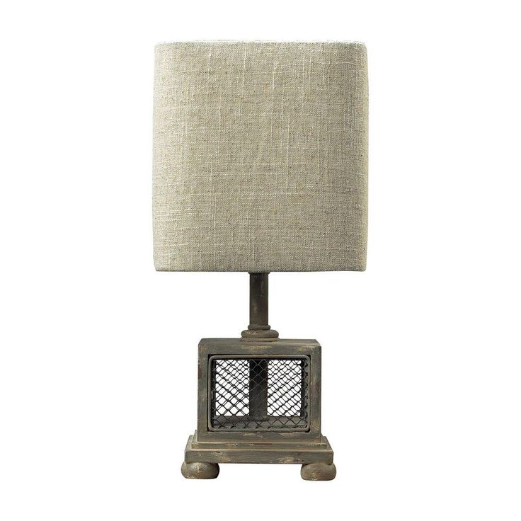 Titan Lighting Delambre Mini 13 in. Montauk Grey Table Lamp