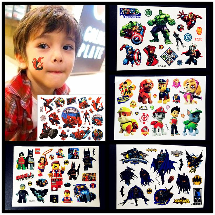 Cartoon Avengers Temporary Tattoo Boys Kids Body Art Superhero Unions Hulk Spiderman Tatoo Puppy Dog Rescue Team Tattoo Stickers