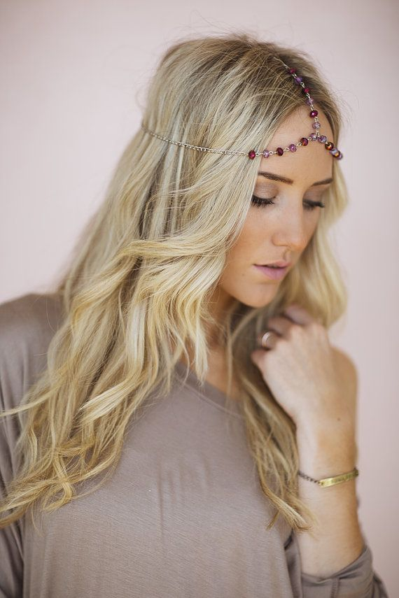 Crystal Beaded Headpiece, Bohemian Chain Headband, Adjustable Headpiece with Crystal Beading and Lobster Clasp in Purple (HB-187) on Etsy, $18.00