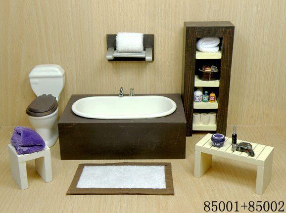 1 12 Scale Doll House Mini Wooden Modern Bathroom Set
