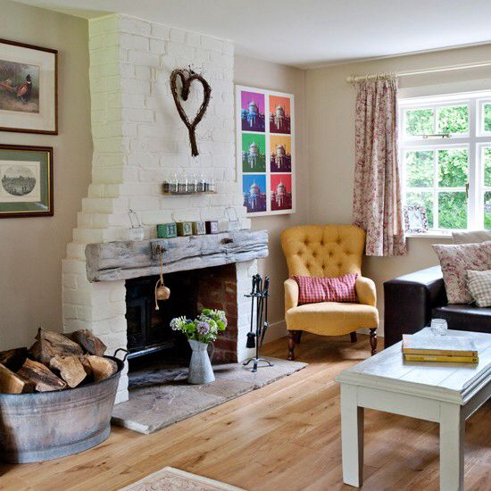 Fab painted brick chimney breast gives texture and character