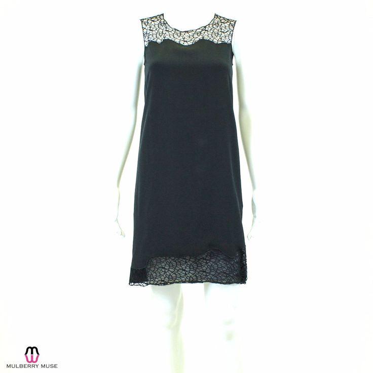 Elie Tahari Black Lace Accent Shift Dress